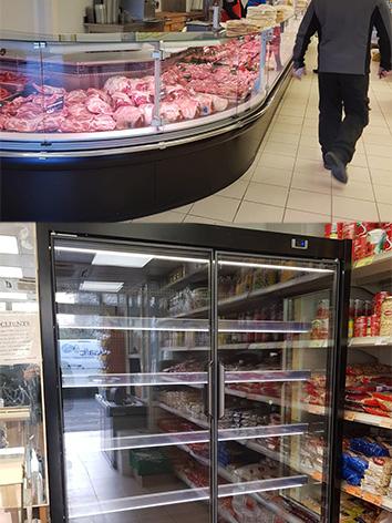 photo de deux vitrines classiques de viandes chez des boucheries installées par safc et une vitrine de boisson installée pour une épicerie