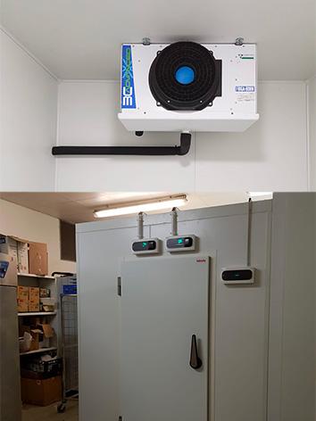photo d'une chambre froide négative avec son evaporateur cubic accroché au plafond